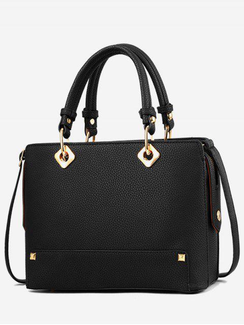fashion Rivet Design Tote Bag - BLACK  Mobile