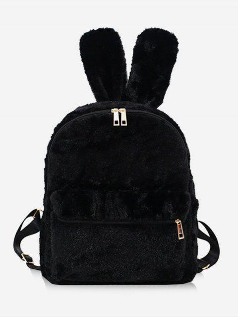 Sac à dos en forme d'oreille de lapin en fausse fourrure - Noir  Mobile