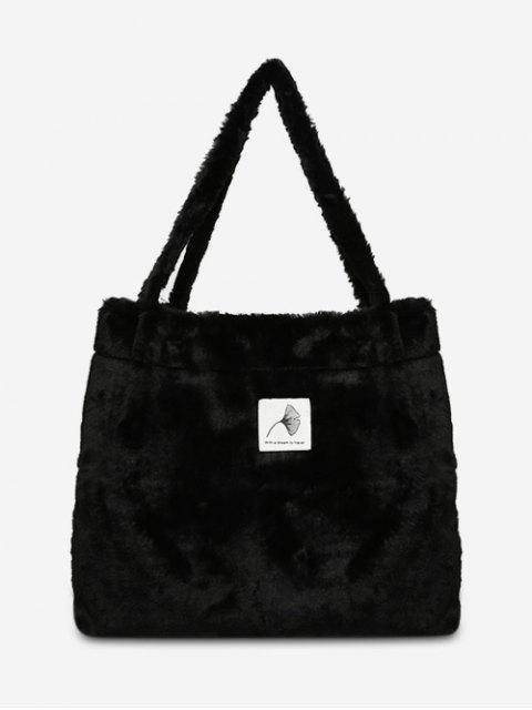 Bolsos de flores artificiales peludo de hombro - Negro  Mobile
