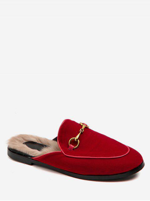 unique Slingback Faux Fur Loafers Flats - ROSE RED EU 40 Mobile