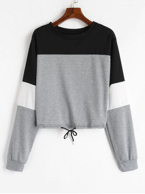 Sweat-shirt Pull-over en Blocs de Couleurs à Cordon - Gris S Mobile