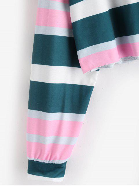 sale Striped Oversized Hoodie - GREENISH BLUE M Mobile