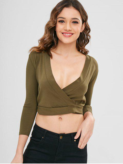 affordable Knotted Wrap Top - ARMY GREEN M Mobile