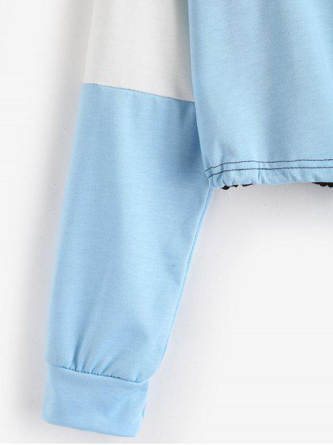 best Drawstring Color Block Pullover Sweatshirt - LIGHT BLUE XL Mobile