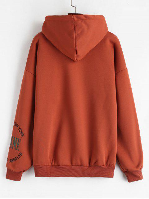 outfit Pouch Pocket Embroidered Fleece Hoodie - CHERRY RED 2XL Mobile