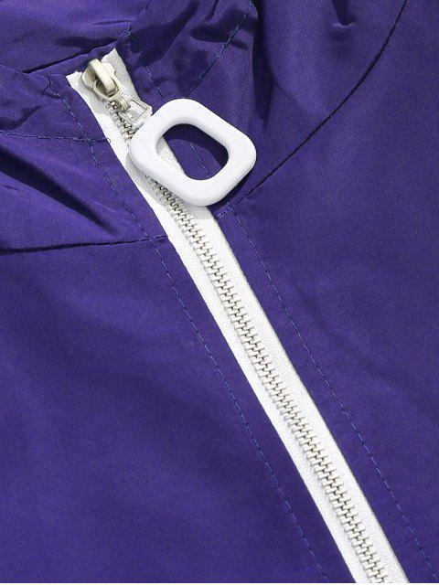 trendy Side Striped Graphic Windbreaker Jacket - PURPLE 2XL Mobile