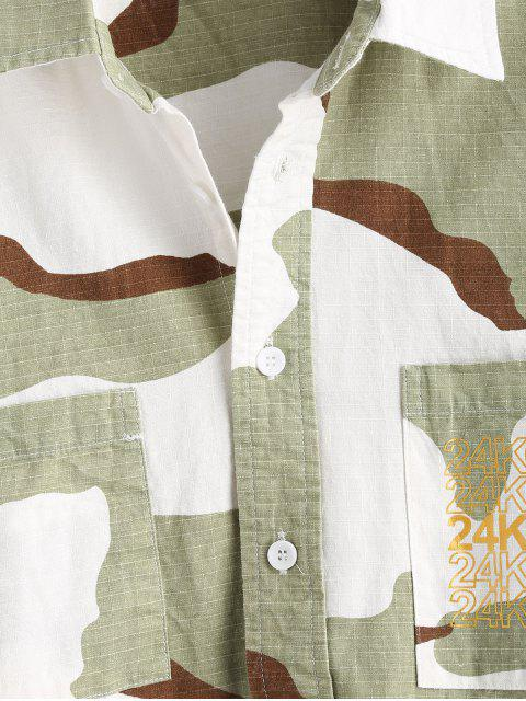 sale High Low Hem Camouflage Shirt - THREE SAND CAMOUFLAGE L Mobile