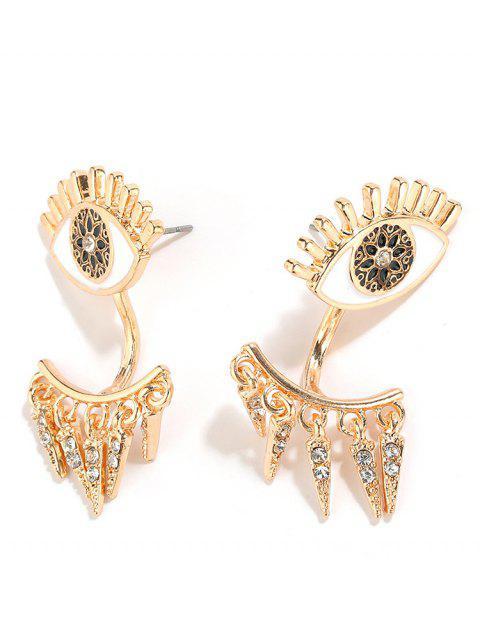 trendy Round Rhinestone Single Eye Pattern Drop Earrings - GOLD  Mobile