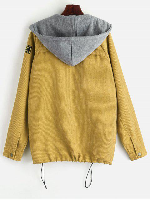 chic ZAFUL Fleece Vest and Corduroy Jacket Twinset - MUSTARD M Mobile