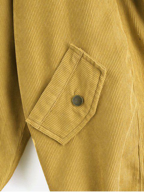 fancy ZAFUL Fleece Vest and Corduroy Jacket Twinset - MUSTARD L Mobile