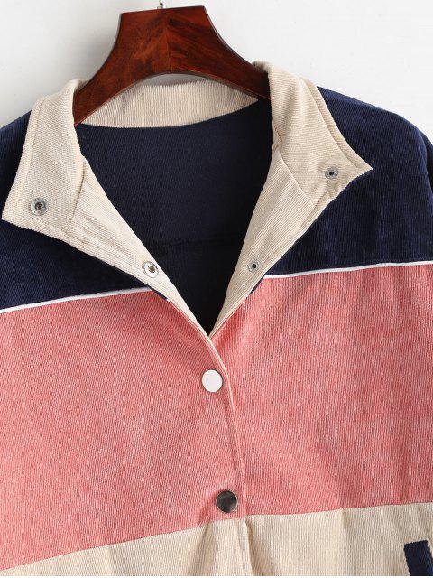 unique ZAFUL Snap Button Contrast Corduroy Jacket - MULTI S Mobile