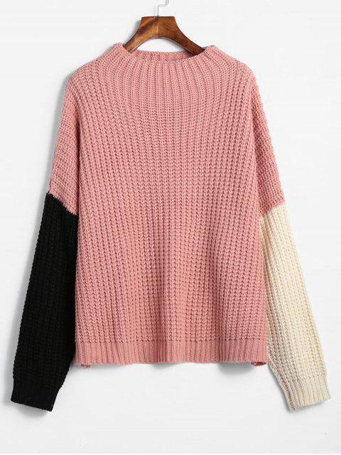 women's ZAFUL Oversized Color Block Sweater - LIGHT PINK ONE SIZE Mobile