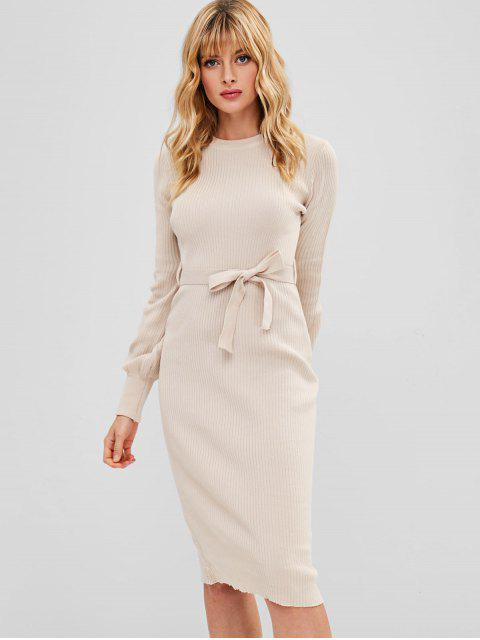 lady Belted Bodycon Pencil Sweater Dress - APRICOT ONE SIZE Mobile