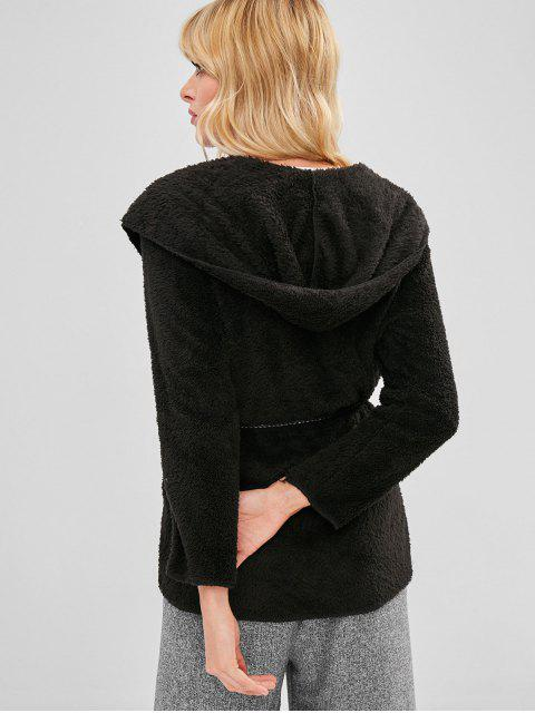shop Hooded Tunic Fluffy Coat - BLACK ONE SIZE Mobile