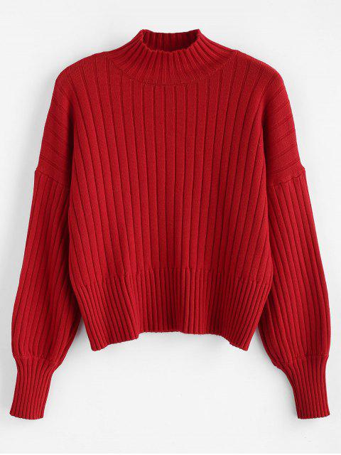 unique Dropped Shoulder Mock Neck Sweater - RED ONE SIZE Mobile