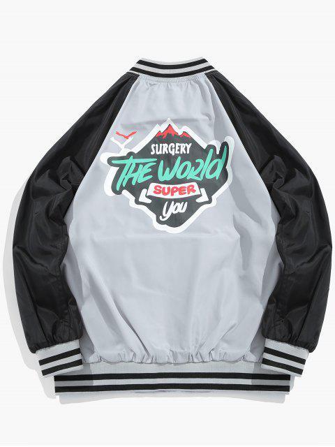 lady Graphic Windbreaker Baseball Jacket - LIGHT GRAY XL Mobile