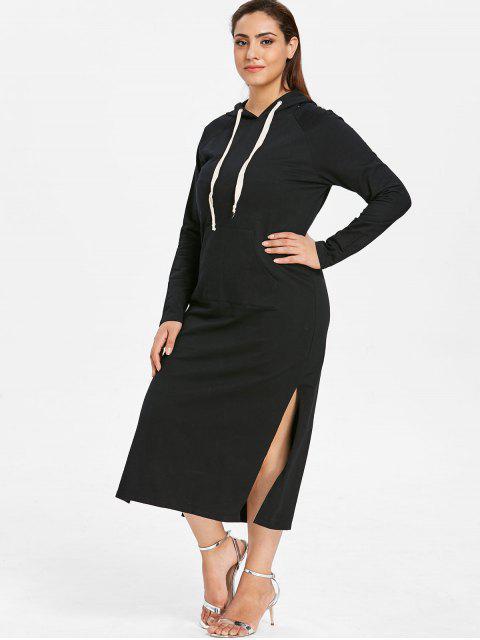online ZAFUL Plus Size Hooded Slit Pocket Dress - BLACK 4X Mobile