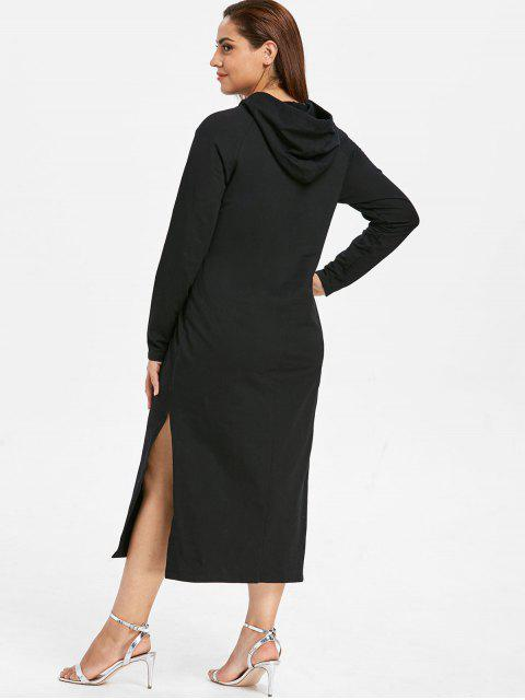 shop ZAFUL Plus Size Hooded Slit Pocket Dress - BLACK 1X Mobile