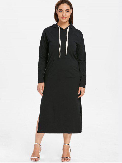 ZAFUL Robe à Capuche Fendue avec Poche Grande Taille - Noir 1X Mobile