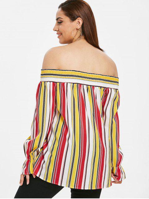 shops ZAFUL Plus Size Knotted Striped Blouse - MULTI L Mobile
