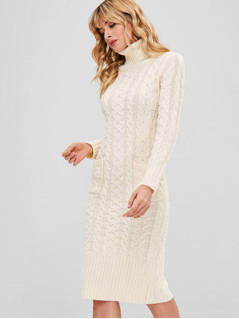 women Bodycon Cable Knit Pocket Sweater Dress - WARM WHITE ONE SIZE Mobile