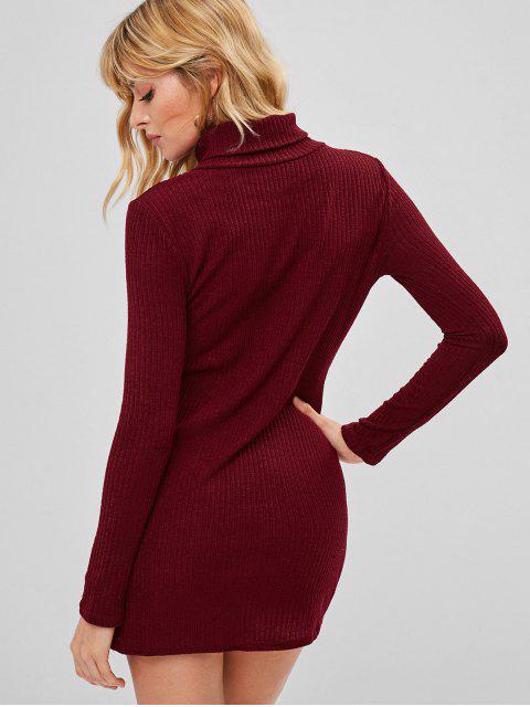 lady Turtleneck Knit Mini Tight Dress - RED WINE M Mobile