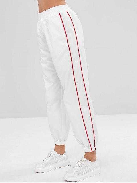 hot Contrast Binding High Wasited Track Pants - WHITE S Mobile