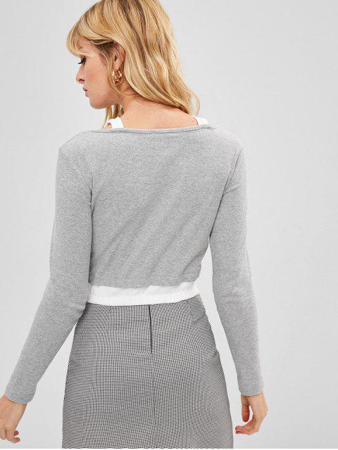 trendy Contrast Trim Ribbed Button Up Crop Top - LIGHT GRAY L Mobile