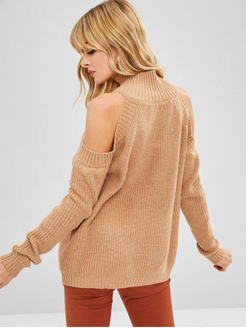 womens High Neck Cold Shoulder Sweater - TAN ONE SIZE Mobile