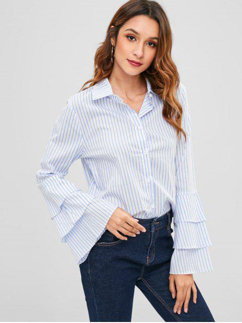 trendy Striped Ruffle Bell Sleeve Shirt - MULTI L Mobile