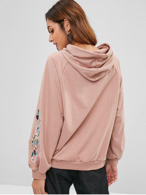womens Floral Letter Patched Front Pocket Hoodie - KHAKI ROSE XL Mobile