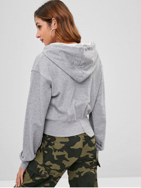 ladies Asymmetric Hem Graphic Hoodie - LIGHT GRAY S Mobile