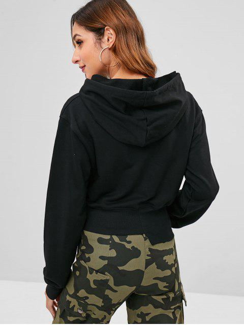 outfit Asymmetric Hem Graphic Hoodie - BLACK S Mobile