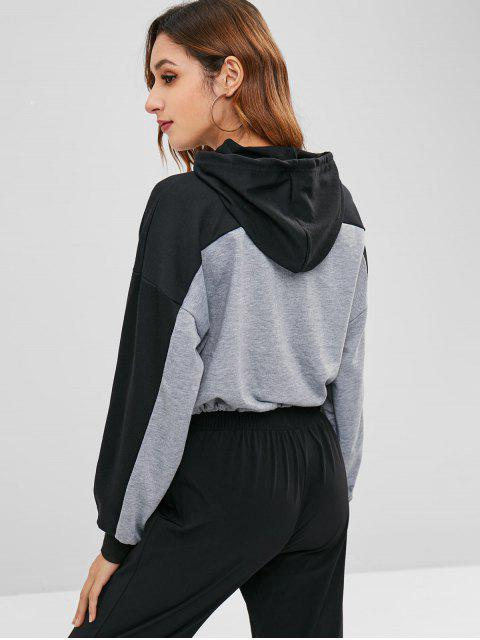 affordable Color Block Crop Hoodie - GRAY XL Mobile