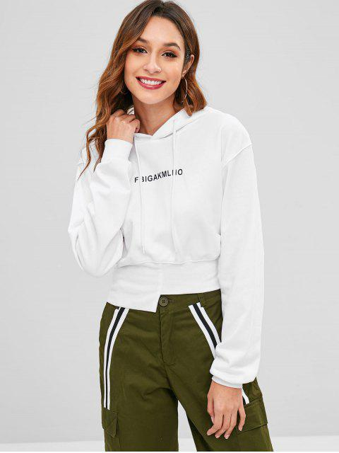 women Asymmetric Hem Graphic Hoodie - WHITE S Mobile