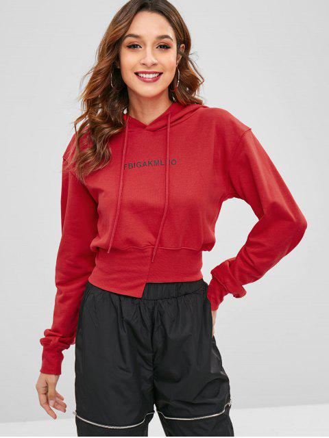 best Asymmetric Hem Graphic Hoodie - RED S Mobile