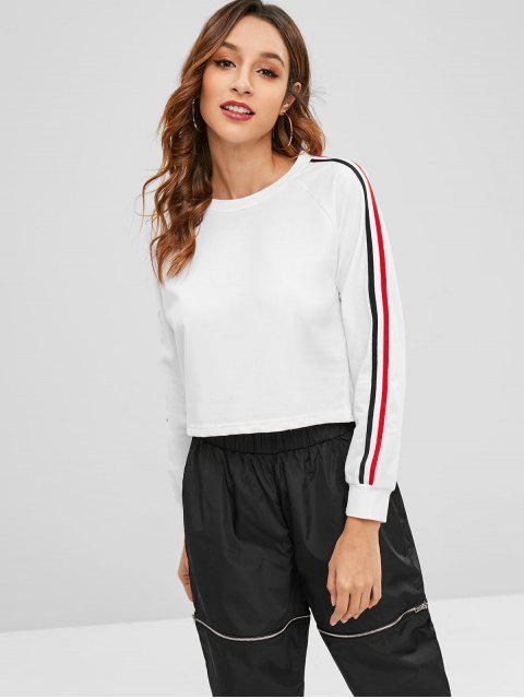 online Raglan Sleeve Striped Sweatshirt - WHITE L Mobile