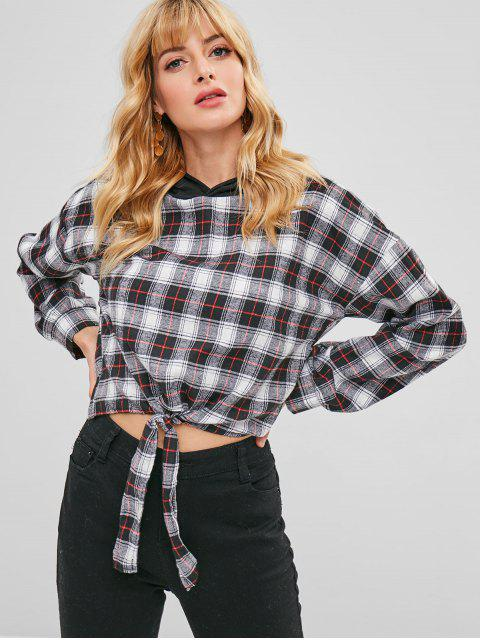 new Knotted Plaid Crop Hoodie - BLACK S Mobile