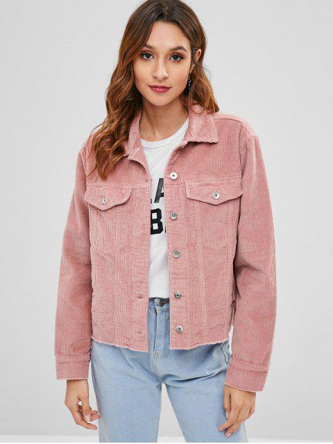 fancy Frayed Hem Corduroy Jacket - PINK M Mobile