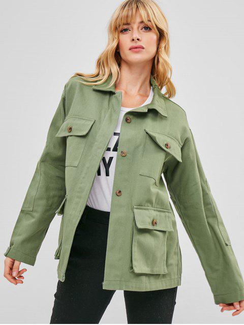 women Denim Safari Jacket - HAZEL GREEN S Mobile