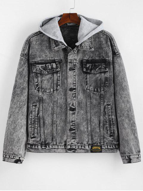best Detachable Hat Single Breasted Jean Jacket - GRAY ONE SIZE Mobile