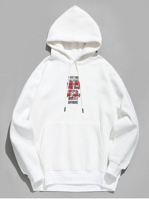 chic Character Print Fleece Hoodie - WHITE M Mobile