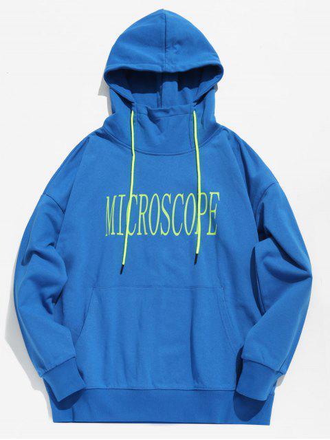 online Drop Shoulder Letter Printed Hoodie - BLUE M Mobile