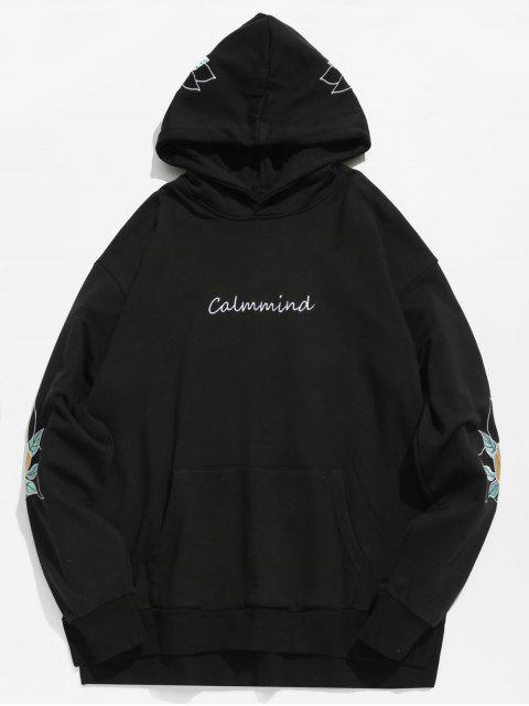 hot Embroidery Side Split Hoodie - BLACK S Mobile