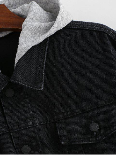 fashion Detachable Hat Single Breasted Jean Jacket - BLACK ONE SIZE Mobile