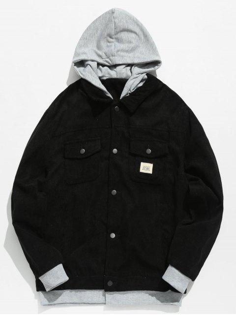 affordable Vintage Patchwork Corduroy Jacket - BLACK S Mobile
