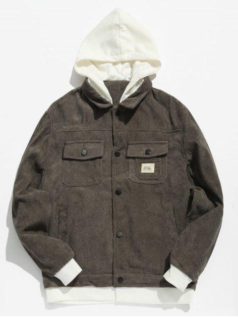 women Vintage Patchwork Corduroy Jacket - DARK GRAY S Mobile