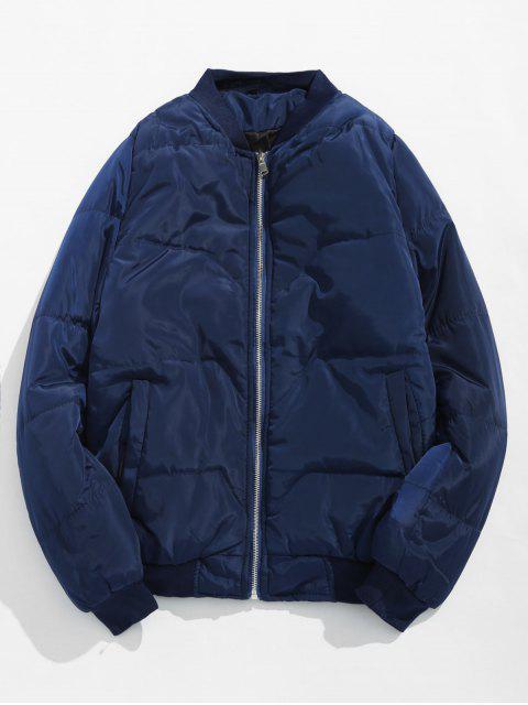 shop Solid Quilted Bomber Jacket - BLUE L Mobile