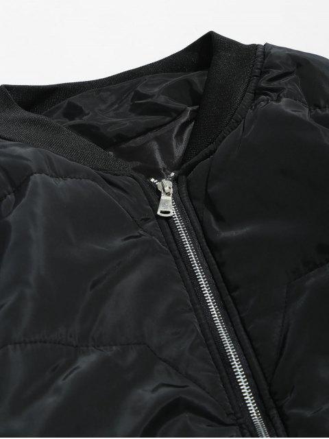 shops Solid Quilted Bomber Jacket - BLACK S Mobile