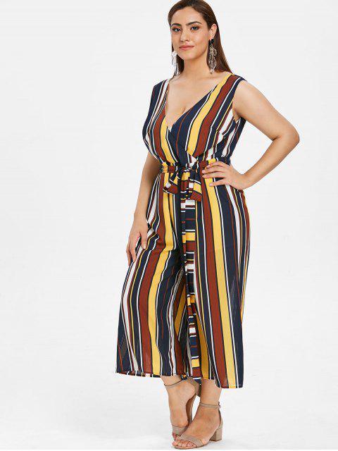 women's ZAFUL Plus Size Sleeveless Striped Belted Jumpsuit - MULTI 2X Mobile
